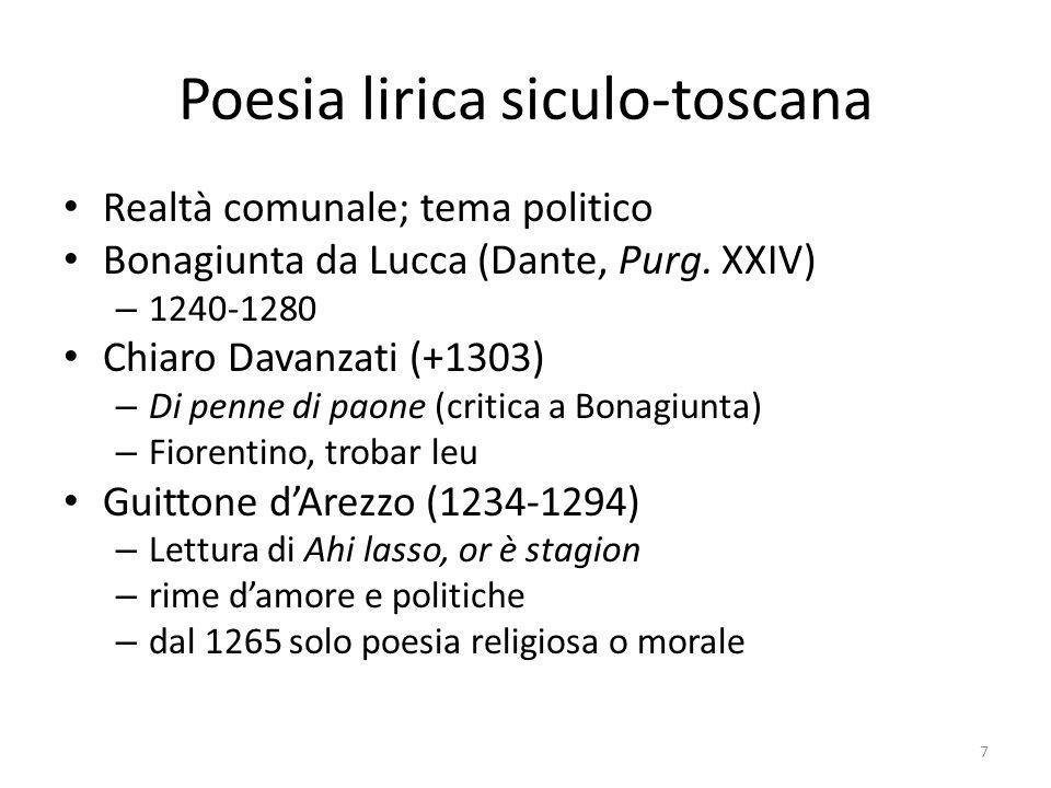 Poesia lirica siculo-toscana Realtà comunale; tema politico Bonagiunta da Lucca (Dante, Purg. XXIV) – 1240-1280 Chiaro Davanzati (+1303) – Di penne di