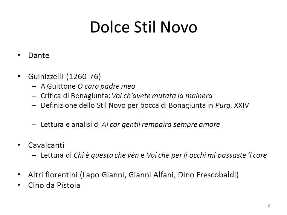 Dolce Stil Novo Dante Guinizzelli (1260-76) – A Guittone O caro padre meo – Critica di Bonagiunta: Voi chavete mutata la mainera – Definizione dello S