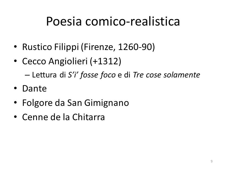 Poesia comico-realistica Rustico Filippi (Firenze, 1260-90) Cecco Angiolieri (+1312) – Lettura di Si fosse foco e di Tre cose solamente Dante Folgore