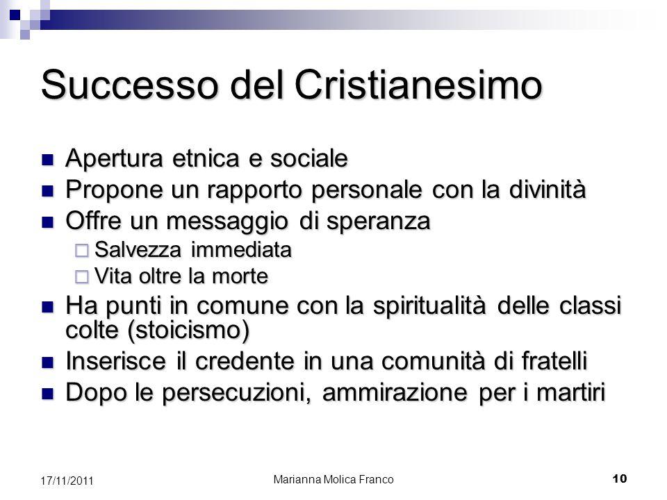 Successo del Cristianesimo Apertura etnica e sociale Apertura etnica e sociale Propone un rapporto personale con la divinità Propone un rapporto perso
