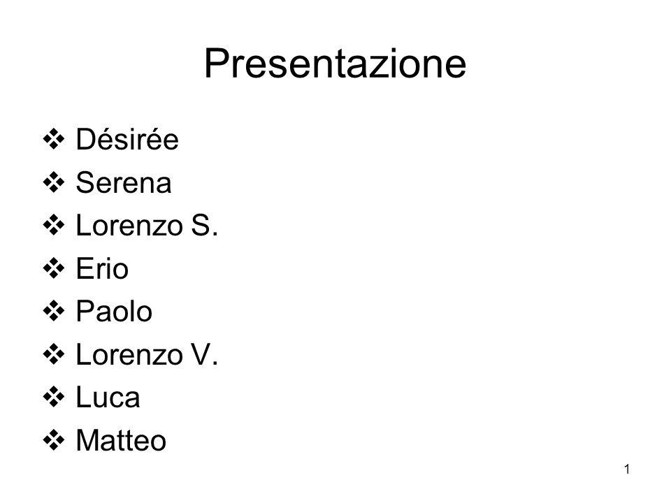 1 Presentazione Désirée Serena Lorenzo S. Erio Paolo Lorenzo V. Luca Matteo