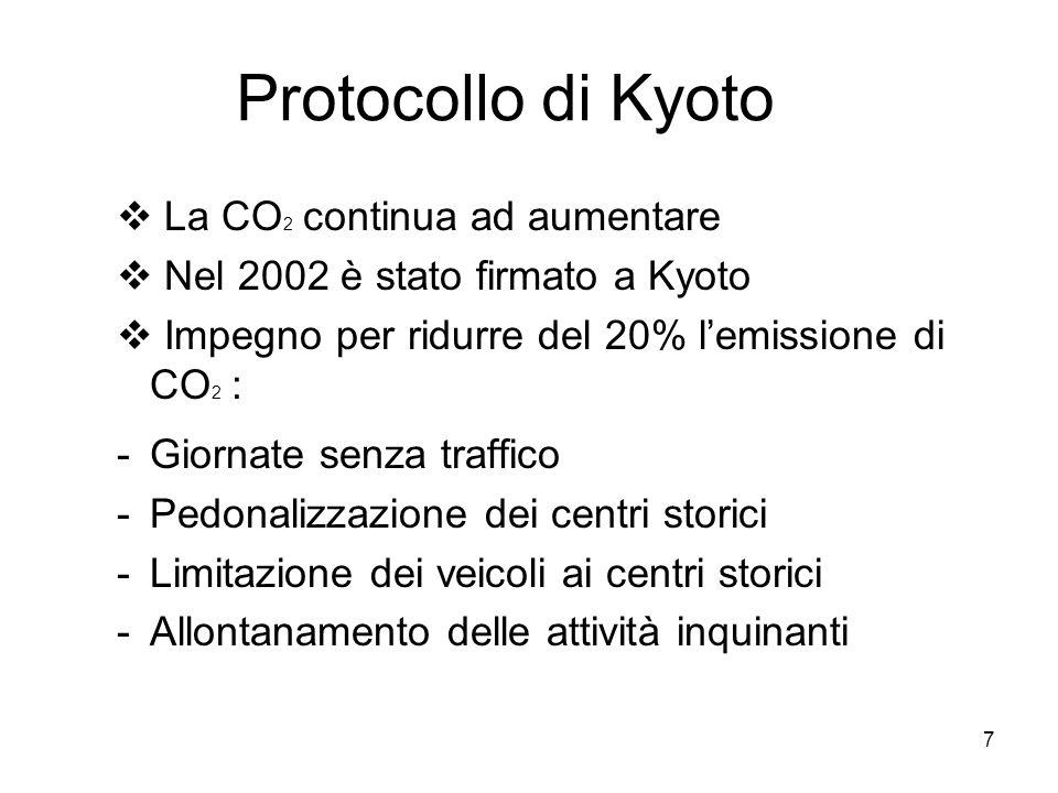 7 Protocollo di Kyoto La CO 2 continua ad aumentare Nel 2002 è stato firmato a Kyoto Impegno per ridurre del 20% lemissione di CO 2 : -Giornate senza