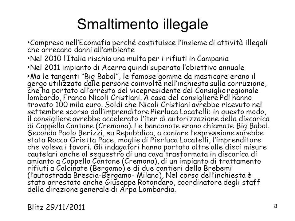 8 Smaltimento illegale Compreso nellEcomafia perché costituisce linsieme di attività illegali che arrecano danni allambiente Nel 2010 lItalia rischia