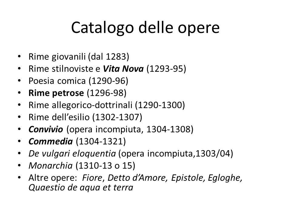 Catalogo delle opere Rime giovanili (dal 1283) Rime stilnoviste e Vita Nova (1293-95) Poesia comica (1290-96) Rime petrose (1296-98) Rime allegorico-d