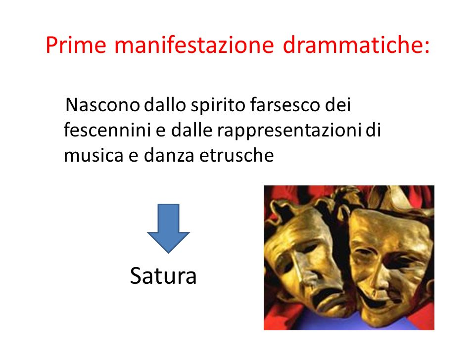 Prime manifestazione drammatiche: Nascono dallo spirito farsesco dei fescennini e dalle rappresentazioni di musica e danza etrusche Satura