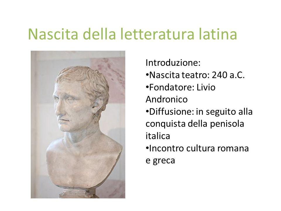Nascita della letteratura latina Introduzione: Nascita teatro: 240 a.C. Fondatore: Livio Andronico Diffusione: in seguito alla conquista della penisol