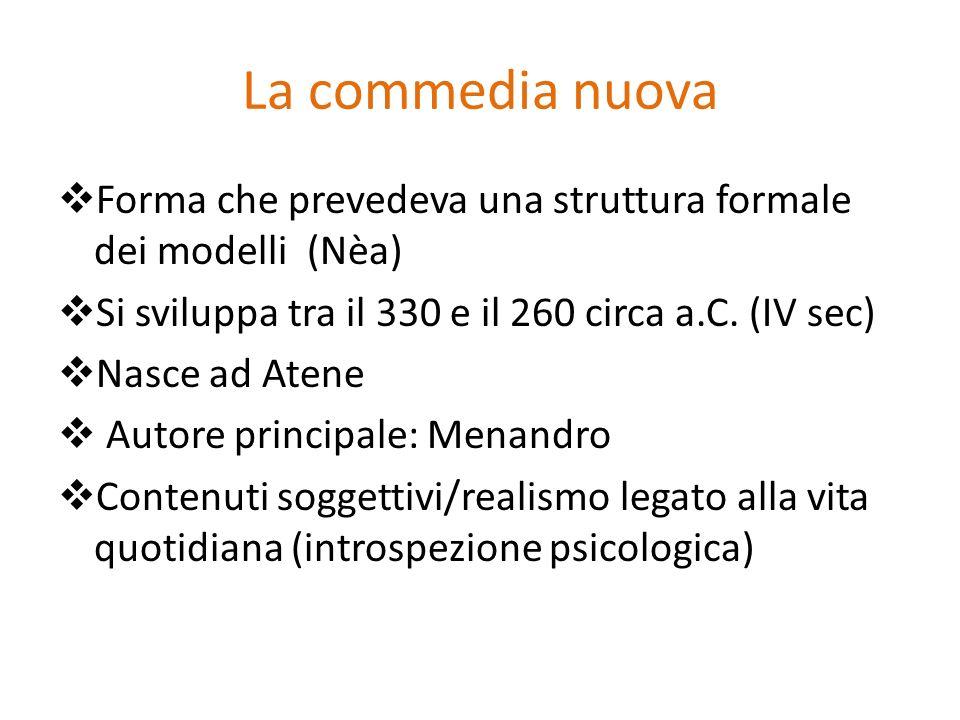La commedia nuova Forma che prevedeva una struttura formale dei modelli (Nèa) Si sviluppa tra il 330 e il 260 circa a.C. (IV sec) Nasce ad Atene Autor