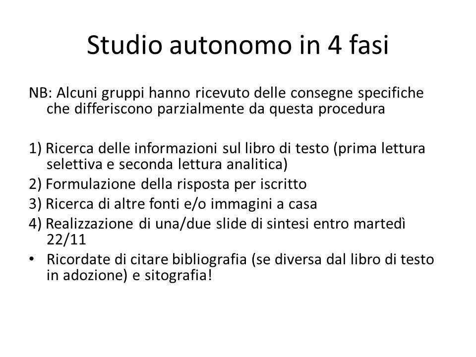 Studio autonomo in 4 fasi NB: Alcuni gruppi hanno ricevuto delle consegne specifiche che differiscono parzialmente da questa procedura 1) Ricerca dell