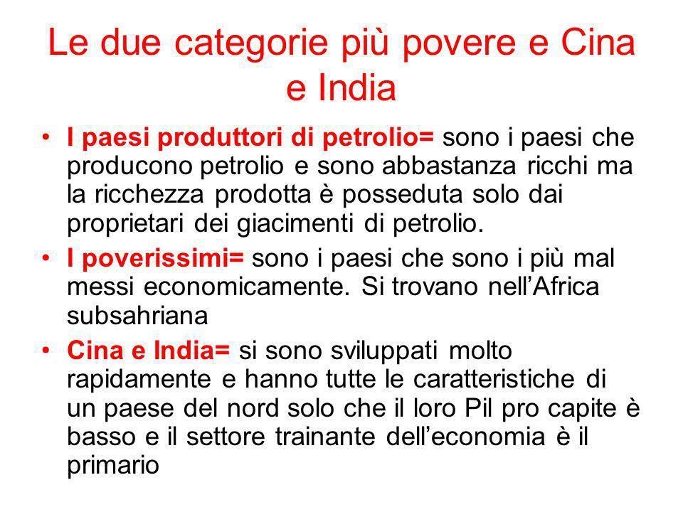 Le due categorie più povere e Cina e India I paesi produttori di petrolio= sono i paesi che producono petrolio e sono abbastanza ricchi ma la ricchezz