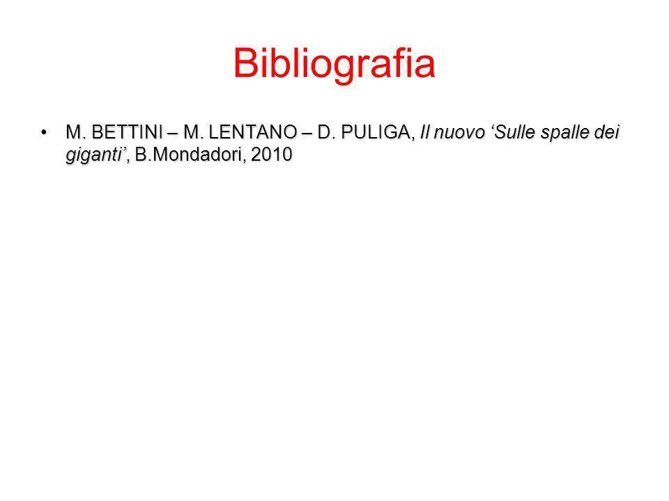 Bibliografia M. BETTINI – M. LENTANO – D. PULIGA, Il nuovo Sulle spalle dei giganti, B.Mondadori, 2010M. BETTINI – M. LENTANO – D. PULIGA, Il nuovo Su