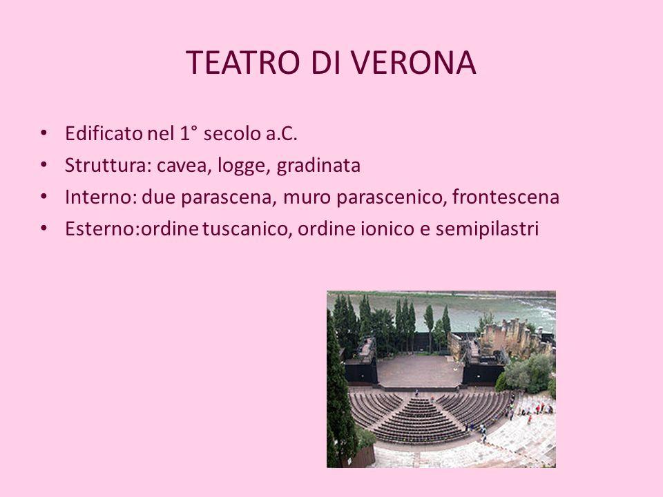 TEATRO DI VERONA Edificato nel 1° secolo a.C. Struttura: cavea, logge, gradinata Interno: due parascena, muro parascenico, frontescena Esterno:ordine