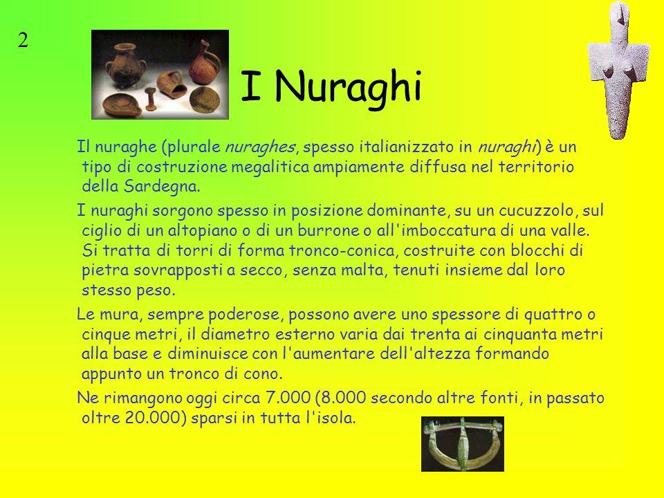 I Nuraghi Il nuraghe (plurale nuraghes, spesso italianizzato in nuraghi) è un tipo di costruzione megalitica ampiamente diffusa nel territorio della S