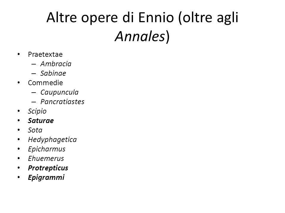 Altre opere di Ennio (oltre agli Annales) Praetextae – Ambracia – Sabinae Commedie – Caupuncula – Pancratiastes Scipio Saturae Sota Hedyphagetica Epic