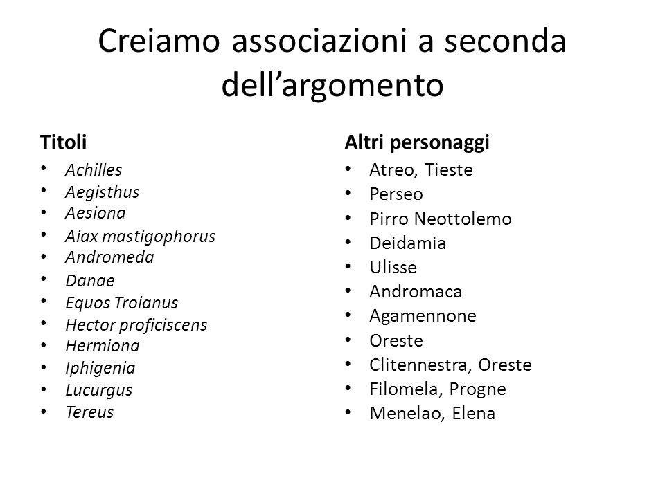 Creiamo associazioni a seconda dellargomento Titoli Achilles Aegisthus Aesiona Aiax mastigophorus Andromeda Danae Equos Troianus Hector proficiscens H