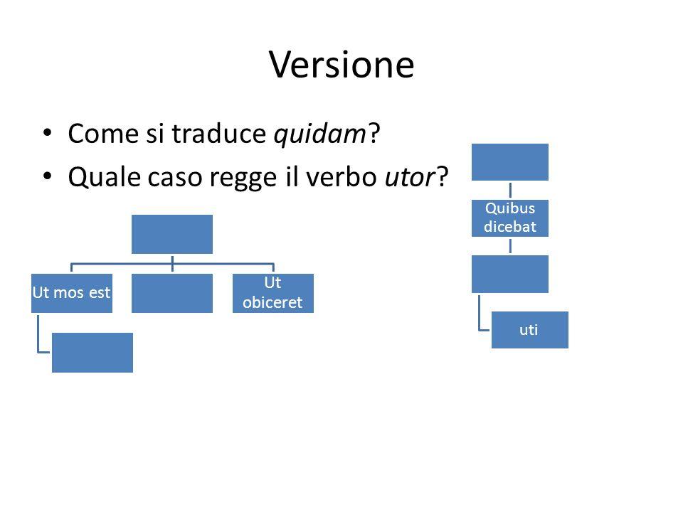 Versione Come si traduce quidam? Quale caso regge il verbo utor? Quibus dicebat uti Ut mos est Ut obiceret