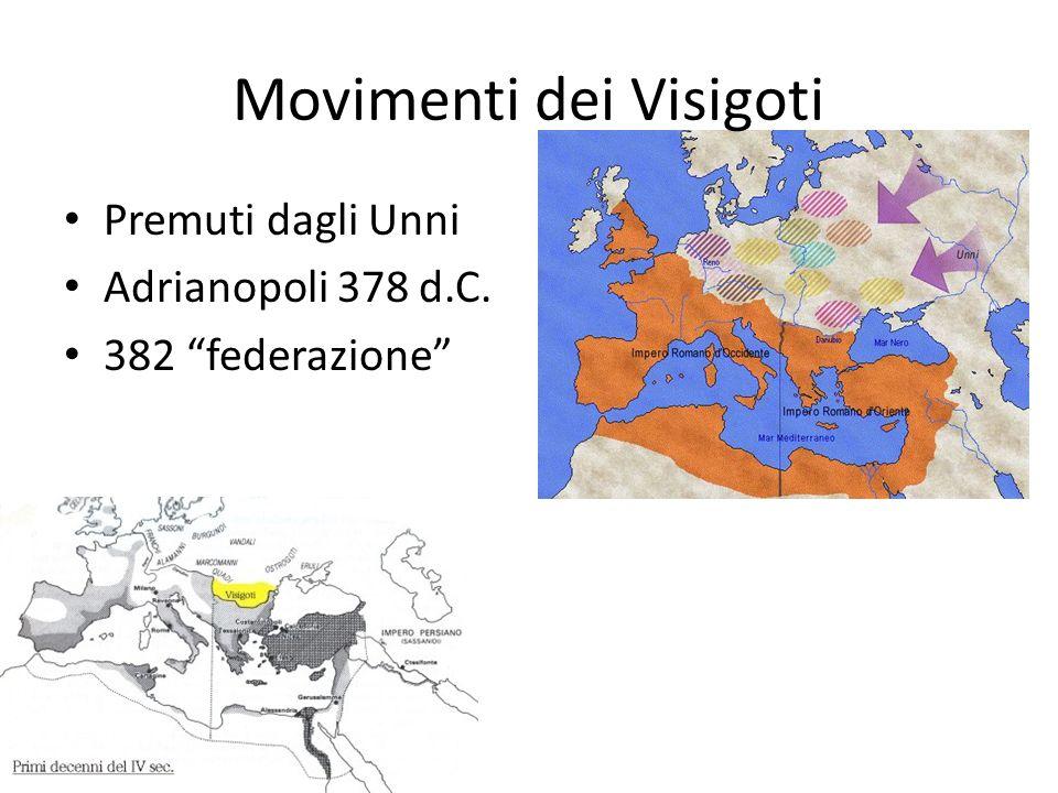 Movimenti dei Visigoti Premuti dagli Unni Adrianopoli 378 d.C. 382 federazione