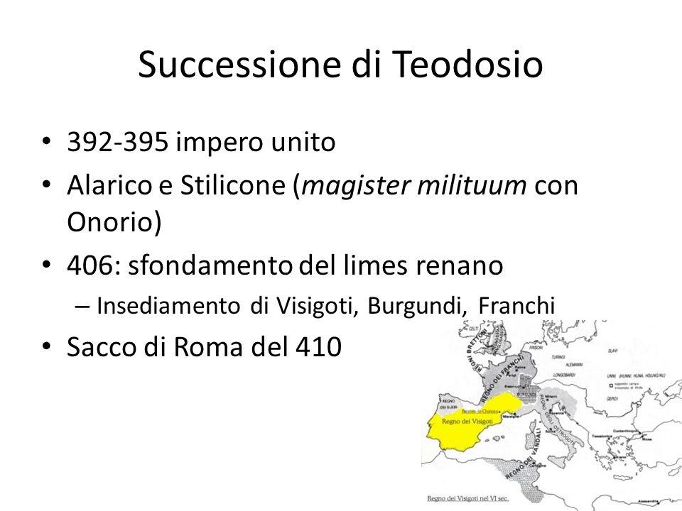 Successione di Teodosio 392-395 impero unito Alarico e Stilicone (magister milituum con Onorio) 406: sfondamento del limes renano – Insediamento di Vi