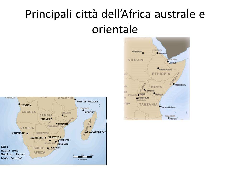 Principali città dellAfrica australe e orientale
