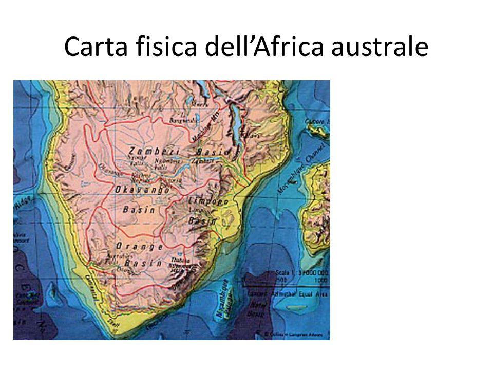 Carta fisica dellAfrica australe