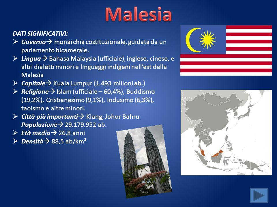 DATI SIGNIFICATIVI: Governo monarchia costituzionale, guidata da un parlamento bicamerale. Lingua Bahasa Malaysia (ufficiale), inglese, cinese, e altr
