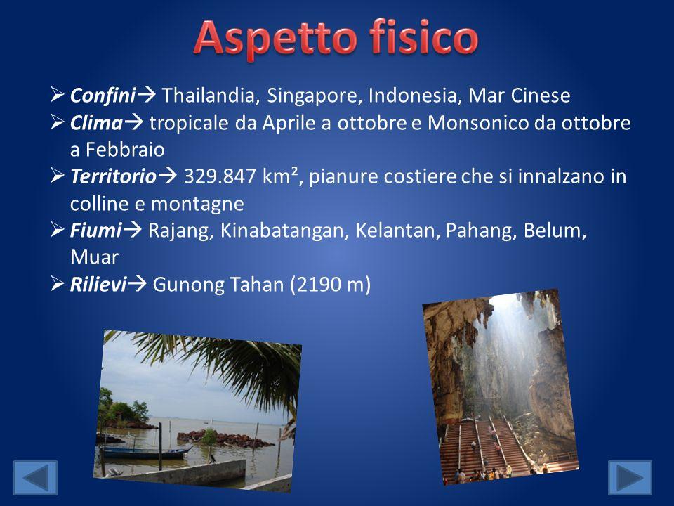 Confini Thailandia, Singapore, Indonesia, Mar Cinese Clima tropicale da Aprile a ottobre e Monsonico da ottobre a Febbraio Territorio 329.847 km², pianure costiere che si innalzano in colline e montagne Fiumi Rajang, Kinabatangan, Kelantan, Pahang, Belum, Muar Rilievi Gunong Tahan (2190 m)