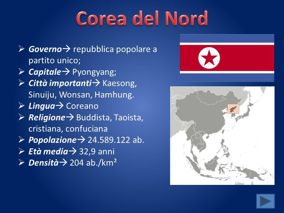 Governo repubblica popolare a partito unico; Capitale Pyongyang; Città importanti Kaesong, Sinuiju, Wonsan, Hamhung. Lingua Coreano Religione Buddista