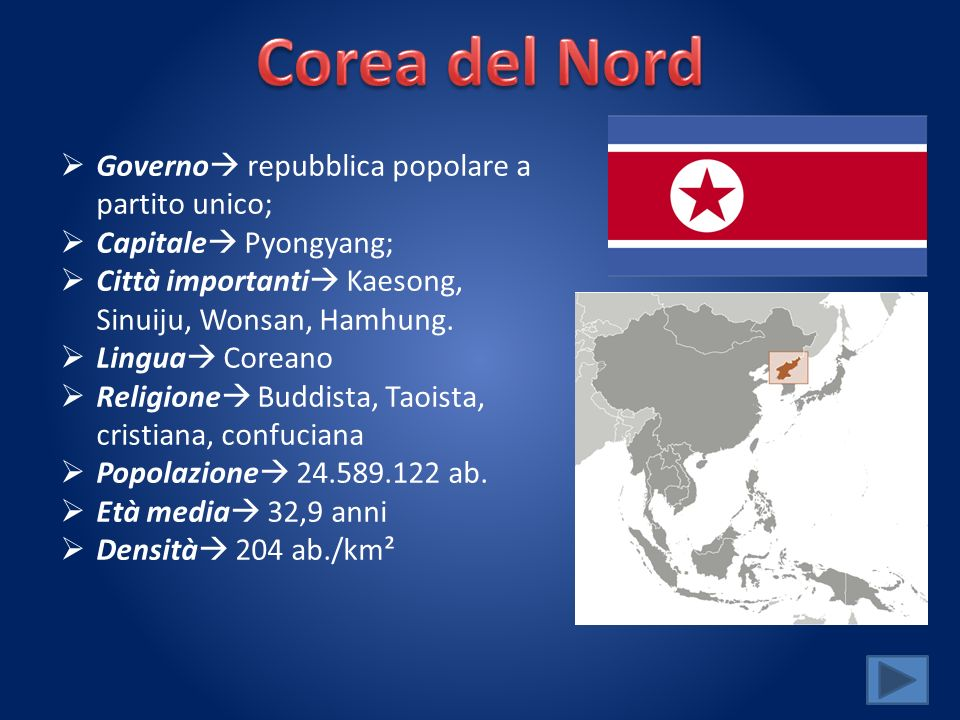 Governo repubblica popolare a partito unico; Capitale Pyongyang; Città importanti Kaesong, Sinuiju, Wonsan, Hamhung.