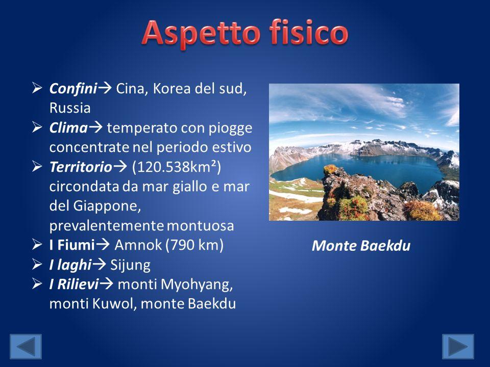 Confini Cina, Korea del sud, Russia Clima temperato con piogge concentrate nel periodo estivo Territorio (120.538km²) circondata da mar giallo e mar del Giappone, prevalentemente montuosa I Fiumi Amnok (790 km) I laghi Sijung I Rilievi monti Myohyang, monti Kuwol, monte Baekdu Monte Baekdu