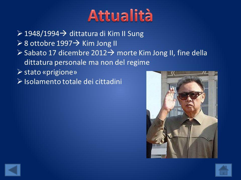 1948/1994 dittatura di Kim II Sung 8 ottobre 1997 Kim Jong II Sabato 17 dicembre 2012 morte Kim Jong II, fine della dittatura personale ma non del regime stato «prigione» Isolamento totale dei cittadini