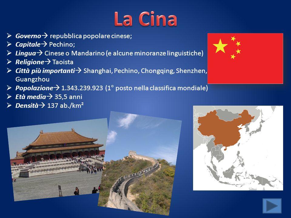 Governo repubblica popolare cinese; Capitale Pechino; Lingua Cinese o Mandarino (e alcune minoranze linguistiche) Religione Taoista Città più importan