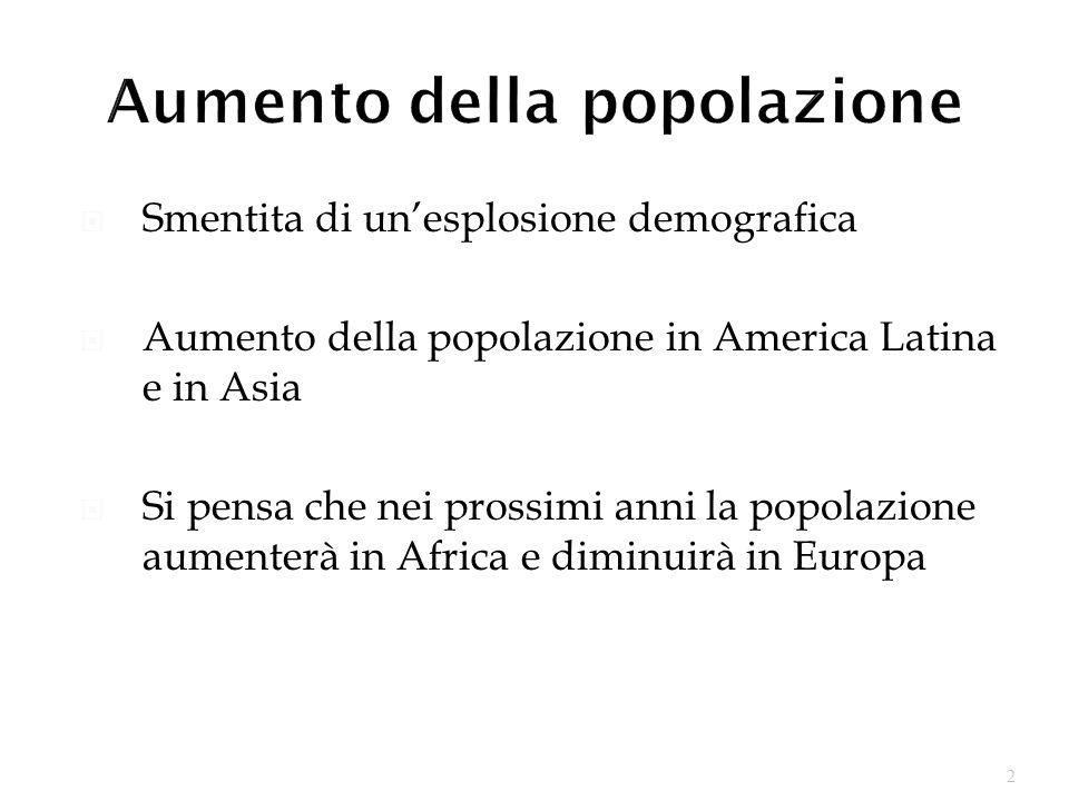 2 Smentita di unesplosione demografica Aumento della popolazione in America Latina e in Asia Si pensa che nei prossimi anni la popolazione aumenterà in Africa e diminuirà in Europa