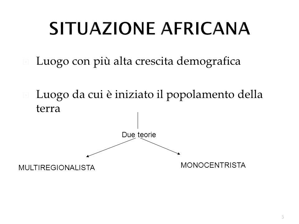 5 Luogo con più alta crescita demografica Luogo da cui è iniziato il popolamento della terra Due teorie MULTIREGIONALISTA MONOCENTRISTA