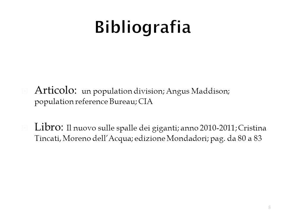 8 Articolo: un population division; Angus Maddison; population reference Bureau; CIA Libro: Il nuovo sulle spalle dei giganti; anno 2010-2011; Cristin