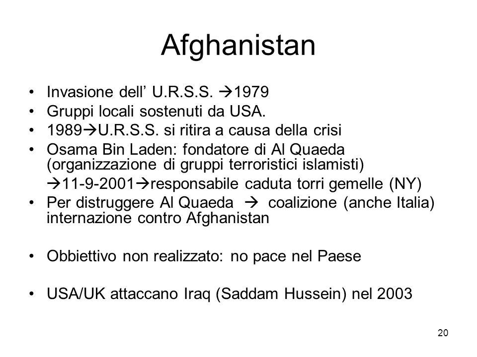 20 Afghanistan Invasione dell U.R.S.S. 1979 Gruppi locali sostenuti da USA. 1989 U.R.S.S. si ritira a causa della crisi Osama Bin Laden: fondatore di