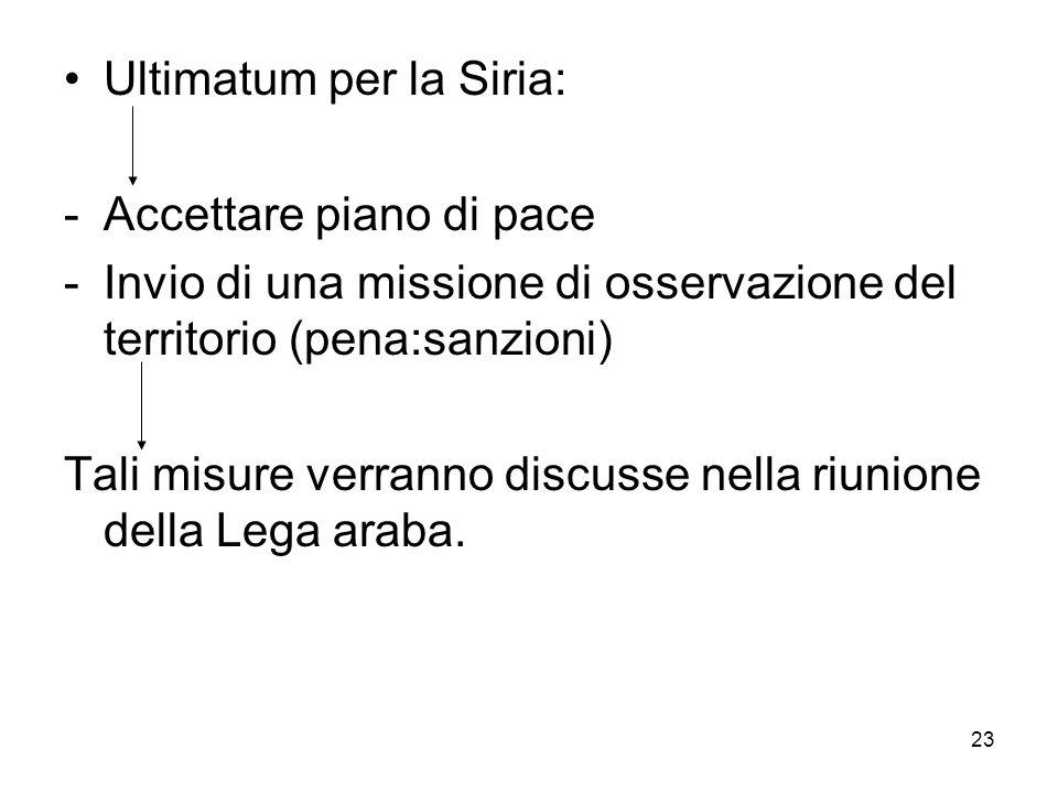 23 Ultimatum per la Siria: -Accettare piano di pace -Invio di una missione di osservazione del territorio (pena:sanzioni) Tali misure verranno discuss