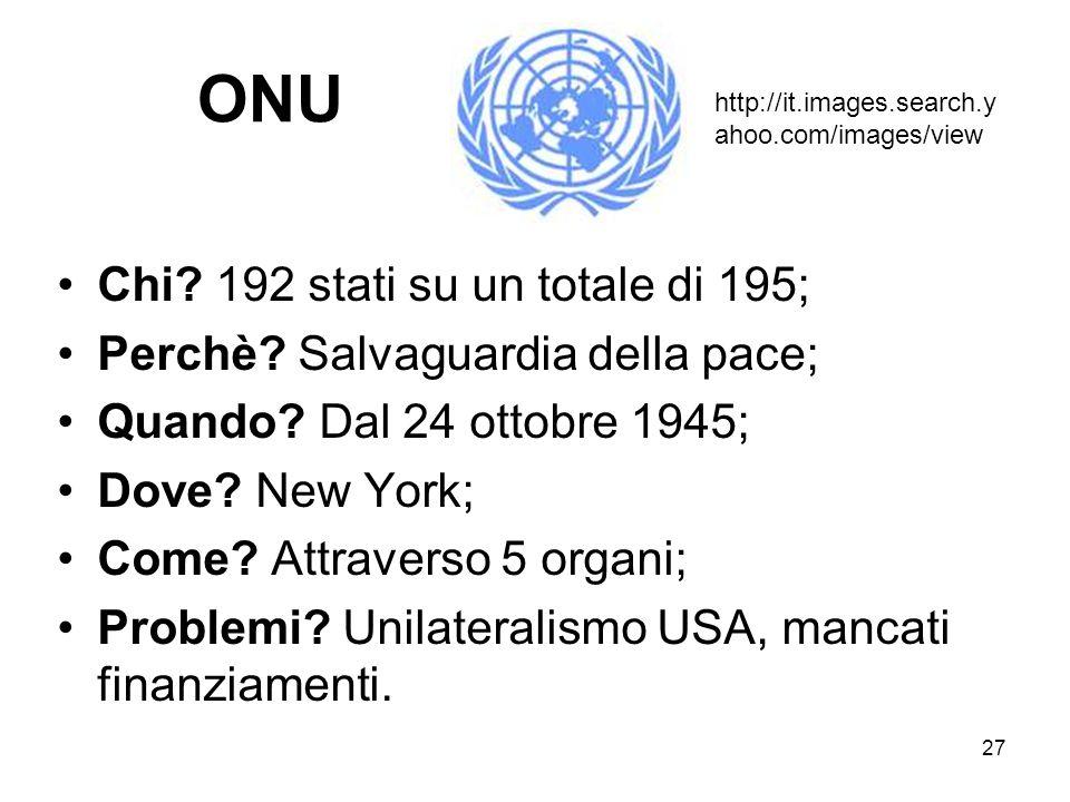 27 ONU Chi? 192 stati su un totale di 195; Perchè? Salvaguardia della pace; Quando? Dal 24 ottobre 1945; Dove? New York; Come? Attraverso 5 organi; Pr