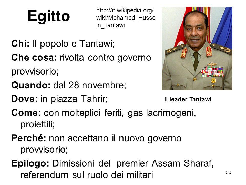 30 Egitto Chi: Il popolo e Tantawi; Che cosa: rivolta contro governo provvisorio; Quando: dal 28 novembre; Dove: in piazza Tahrir; Come: con molteplic