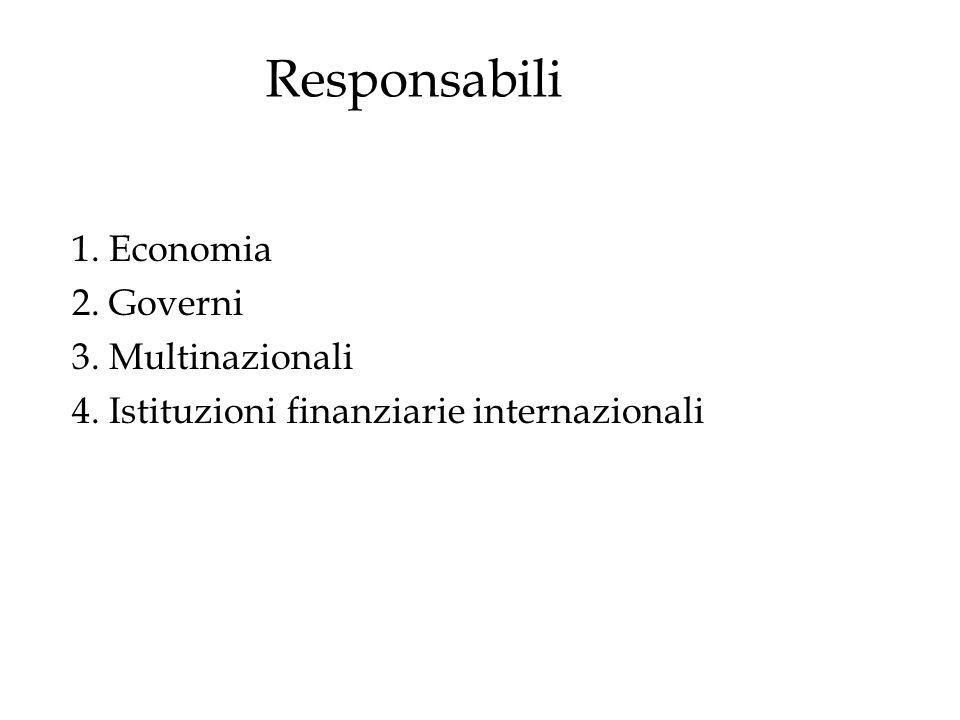 1. Economia 2. Governi 3. Multinazionali 4. Istituzioni finanziarie internazionali Responsabili