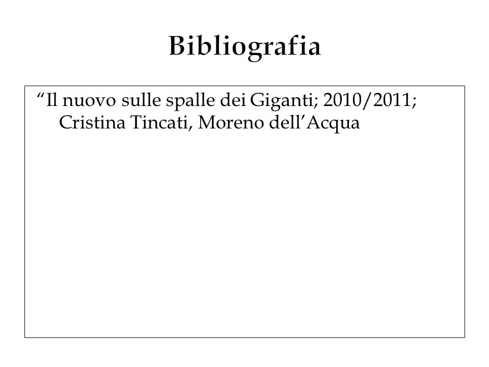 Il nuovo sulle spalle dei Giganti; 2010/2011; Cristina Tincati, Moreno dellAcqua