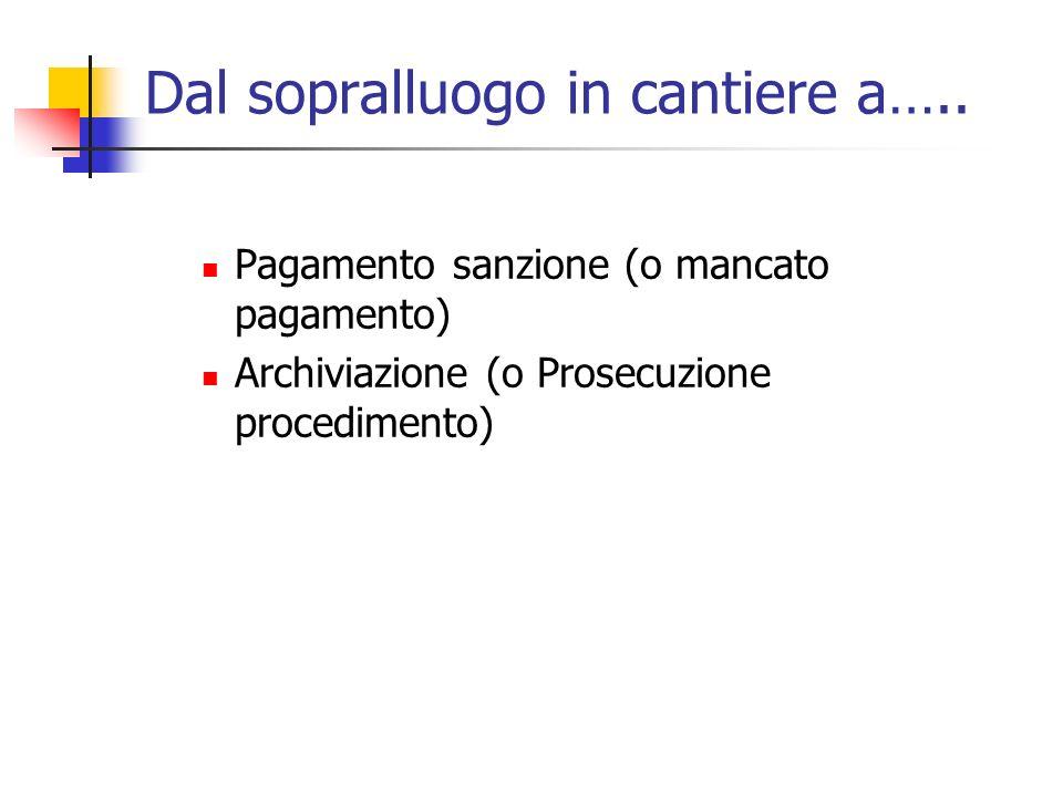 Dal sopralluogo in cantiere a….. Pagamento sanzione (o mancato pagamento) Archiviazione (o Prosecuzione procedimento)