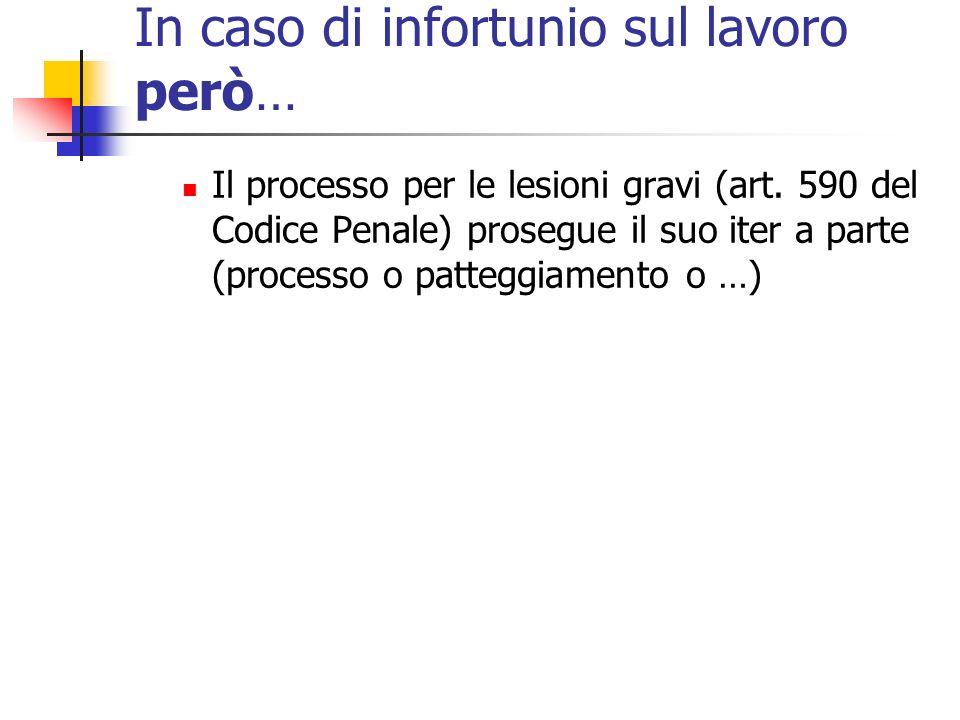 In caso di infortunio sul lavoro però… Il processo per le lesioni gravi (art. 590 del Codice Penale) prosegue il suo iter a parte (processo o patteggi