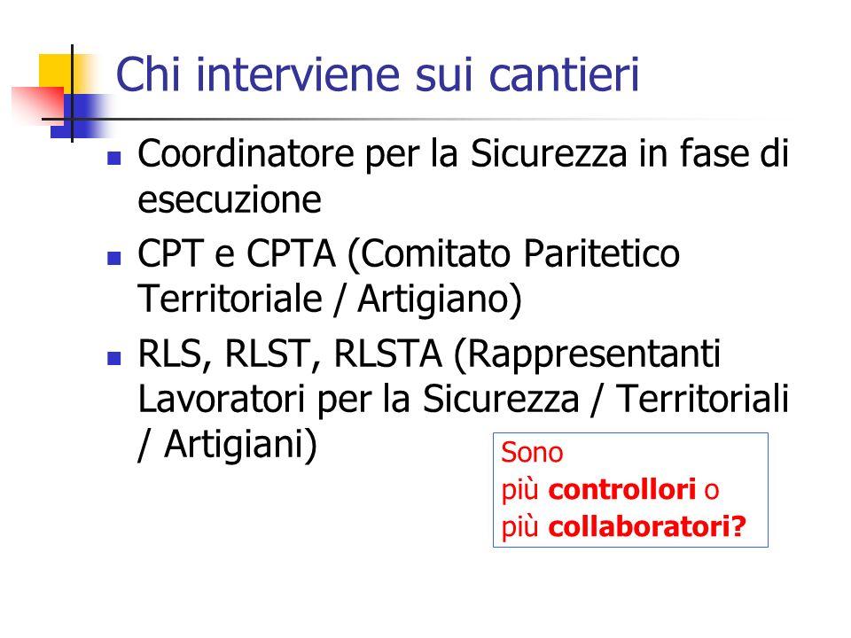 Chi interviene sui cantieri Coordinatore per la Sicurezza in fase di esecuzione CPT e CPTA (Comitato Paritetico Territoriale / Artigiano) RLS, RLST, R