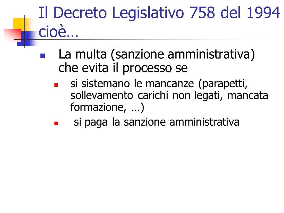 Il Decreto Legislativo 758 del 1994 cioè… La multa (sanzione amministrativa) che evita il processo se si sistemano le mancanze (parapetti, sollevamento carichi non legati, mancata formazione, …) si paga la sanzione amministrativa