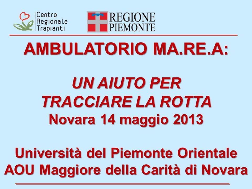 AMBULATORIO MA.RE.A: UN AIUTO PER TRACCIARE LA ROTTA Novara 14 maggio 2013 Università del Piemonte Orientale AOU Maggiore della Carità di Novara