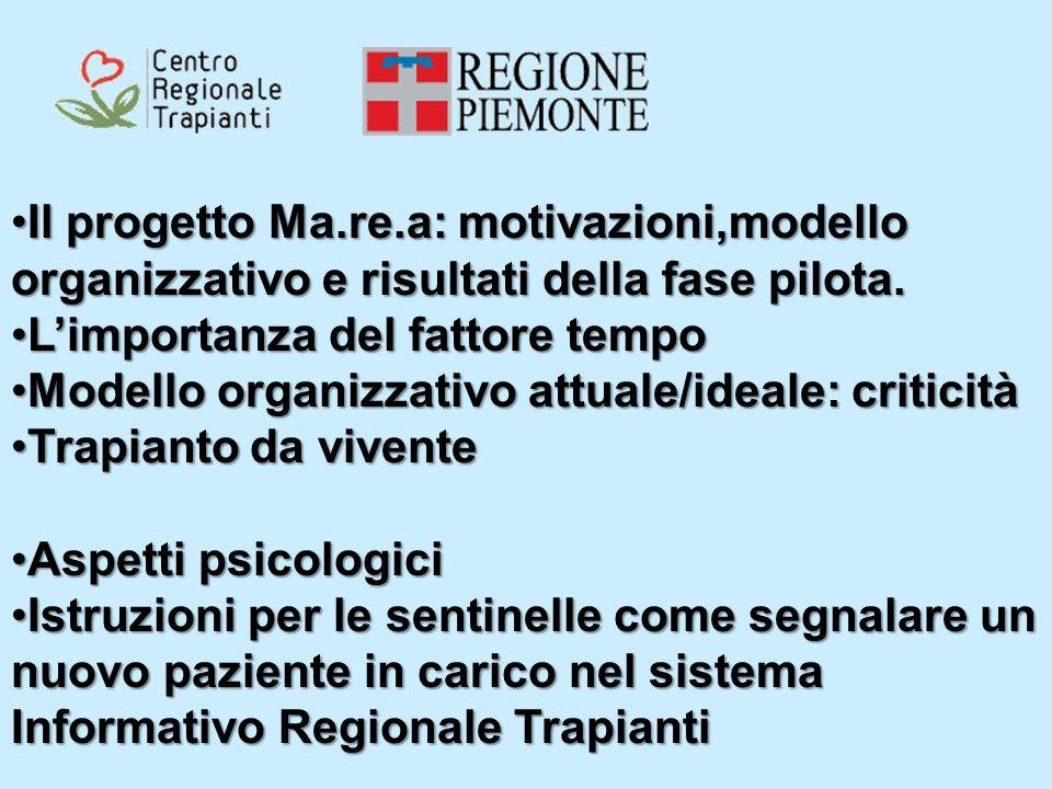 Il progetto Ma.re.a: motivazioni,modello organizzativo e risultati della fase pilota.Il progetto Ma.re.a: motivazioni,modello organizzativo e risultat