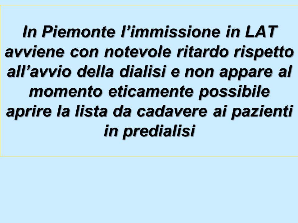 In Piemonte limmissione in LAT avviene con notevole ritardo rispetto allavvio della dialisi e non appare al momento eticamente possibile aprire la lis