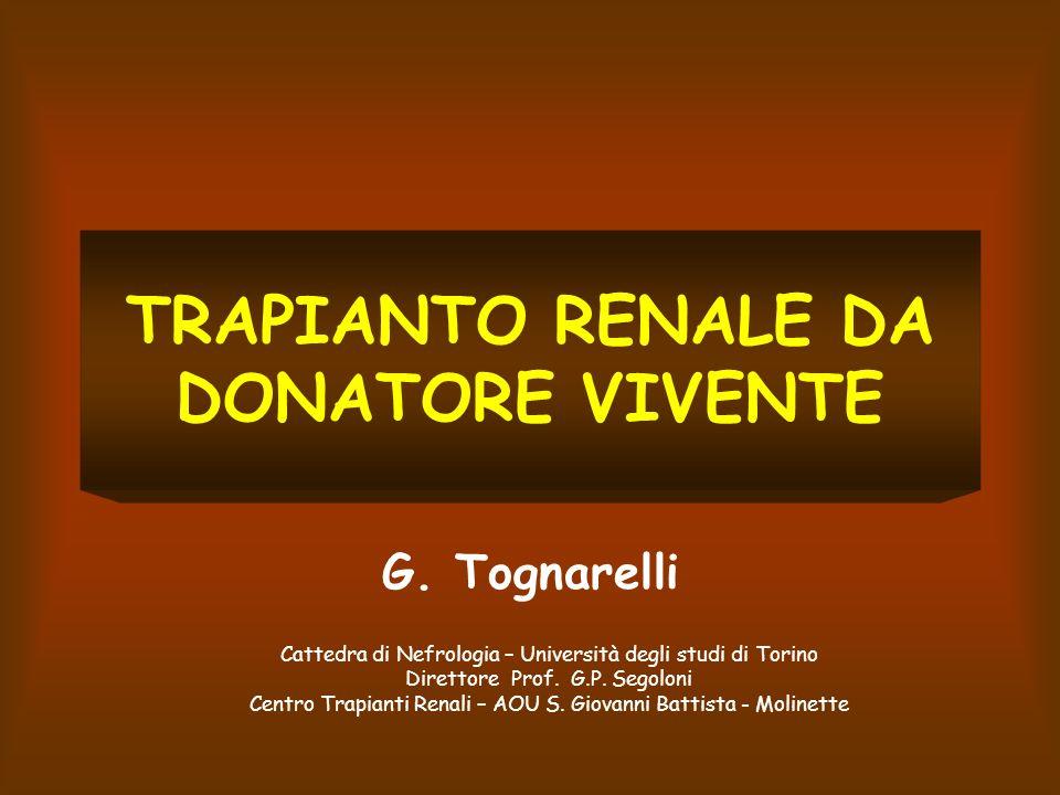 ETA LIMITE DEL DONATORE Età limite accettata: 72 anni Centro trapianti renali Torino Non limiti di età se: Funzione renale buona Non fattori di rischio maggiori
