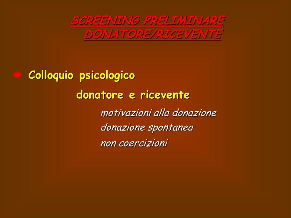 SCREENING PRELIMINARE DONATORE/RICEVENTE Colloquio psicologico donatore e ricevente donatore e ricevente motivazioni alla donazione donazione spontanea non coercizioni