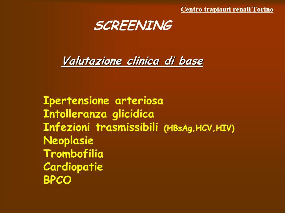 Centro trapianti renali Torino SCREENING Valutazione clinica di base Ipertensione arteriosa Intolleranza glicidica Infezioni trasmissibili (HBsAg,HCV,HIV) Neoplasie Trombofilia Cardiopatie BPCO