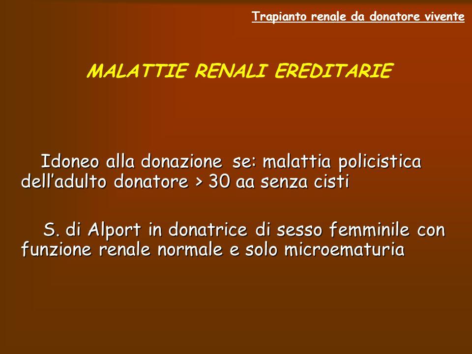 Trapianto renale da donatore vivente MALATTIE RENALI EREDITARIE Idoneo alla donazione se: malattia policistica delladulto donatore > 30 aa senza cisti S.